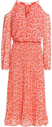 MICHAEL Michael Kors Cold-shoulder Floral-print Crepe Dress