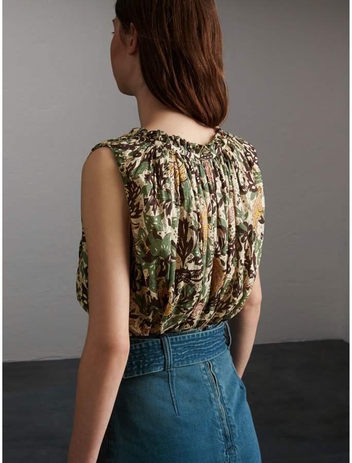 Burberry Sleeveless Beasts Print Lightweight Cotton Top