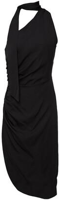 Milly Coleen Tie-neck One-shoulder Silk-blend Dress