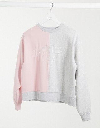 New Look hamptons colour block sweatshirt in pink & grey