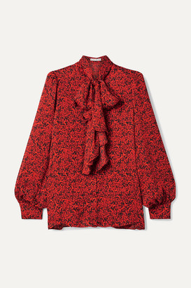 Alice + Olivia Tammy Pussy-bow Printed Crepe Blouse - Red