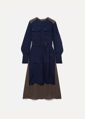 Chloé Asymmetric Two-tone Silk Crepe De Chine Dress - Navy