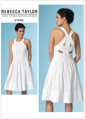 Vogue Rebecca Taylor Women's Flared Cut Out Detail Summer Dress Sewing Pattern, 1447