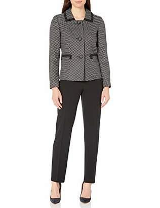 Le Suit Women's 3 Button GEO Jacquard Slim Pant Suit