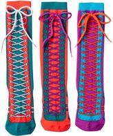 LittleMissMatched Girls 4-9 Little Miss Matched 3-pk. Laced Sneaker Knee-High Socks