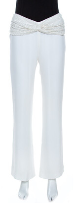 Valentino Off White Crepe Sequined Waist Band Detail Pants M
