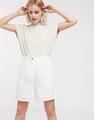 Selected Yotk high waisted longline shorts