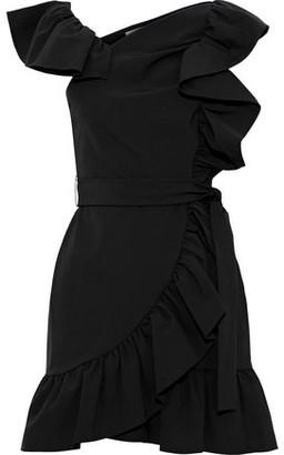 Rebecca Minkoff Venus Wrap-effect Ruffled Stretch-cady Mini Dress