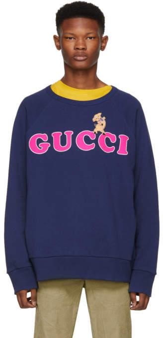 Gucci Navy Pig Embroidery Sweatshirt