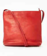 Le Donne Red Top-Zip Leather Crossbody Bag