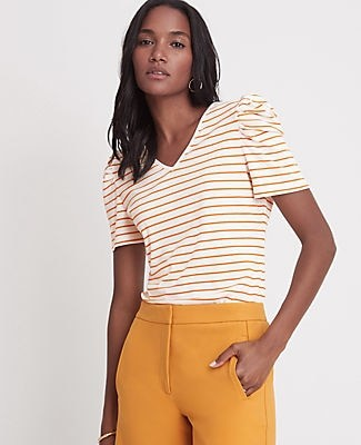Ann Taylor Striped Ribbed Puff Sleeve Top