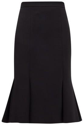 Alexander McQueen Pleated-hem Wool-blend Crepe Skirt - Womens - Black