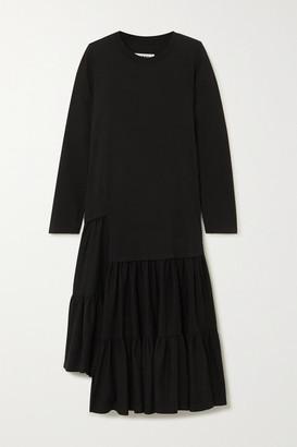 MM6 MAISON MARGIELA Tiered Cotton-jersey Midi Dress - Black