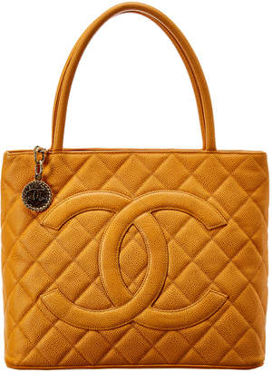 Chanel Orange Quilted Caviar Leather Medallion Tote