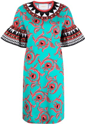 La DoubleJ Flared Sleeve Floral Print Dress
