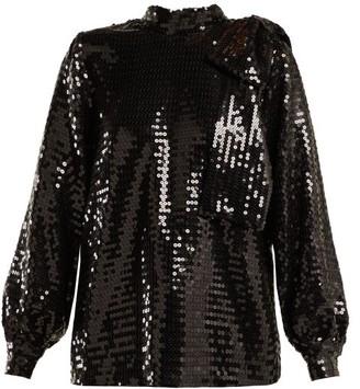 MSGM High-neck Sequin Top - Black