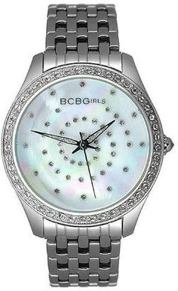 BCBGMAXAZRIA BCB Girls Women's Quartz Watch Crystal Accented Silver Streak Dial with Metal Strap GL4017