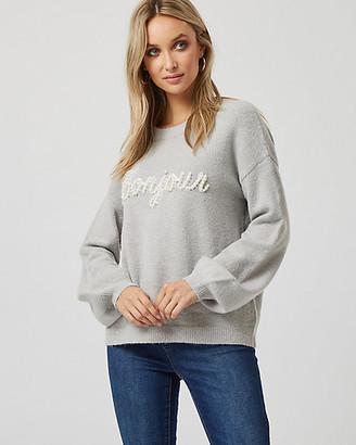 """Le Château """"Bonjour"""" Knit Crew Neck Sweater"""