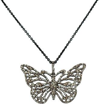 Arthur Marder Fine Jewelry Silver 2.00 Ct. Tw. Diamond Butterfly Pendant Necklace