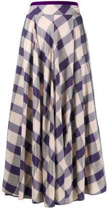 Forte Forte Check-Print Full Skirt