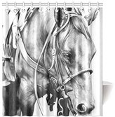 """Nicole's Shower Curtain 66""""(Width) x 72""""(Height) 100% Polyester Black and White Horse Shower Curtain Bath Curtain"""