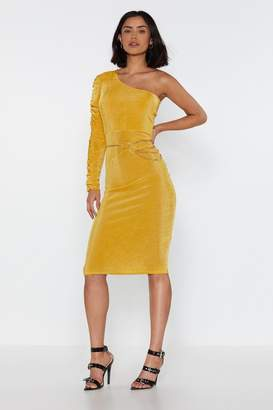 Nasty Gal Womens Gold Ruche One Shoulder Midi Dress - Metallics - 6, Metallics