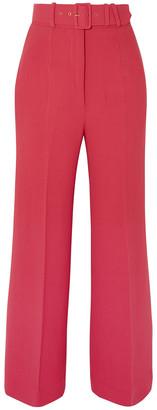 Emilia Wickstead Jana Belted Wool-crepe Wide-leg Pants