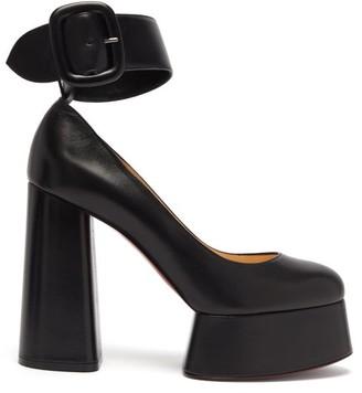 Christian Louboutin Delightfool 130 Ankle-strap Platform Leather Pumps - Black