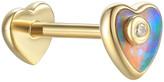 Pamela Love Opal Inlay Diamond Heart Single Thread Through Stud Earring - Yellow Gold