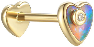 Pamela Love Opal Inlay Diamond Heart Single Thread Through Stud Earring - Yellow Gold