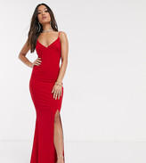 Club L London Petite Petite Red cami strap maxi dress with thigh split