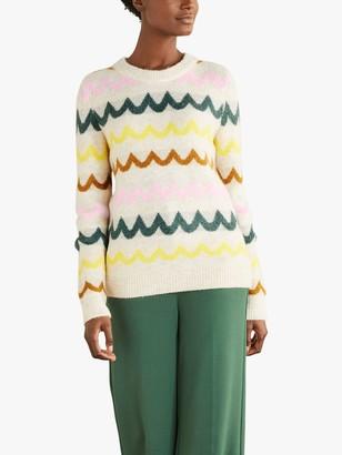 Boden Effingham Knit Jumper, Frankincense Chevron