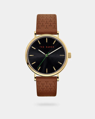 Ted Baker MIMOSSA T perforated leather strap watch