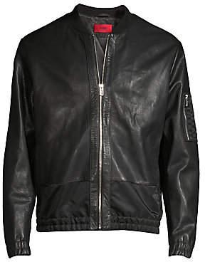 HUGO Men's Larrson Slim-Fit Leather Bomber Jacket