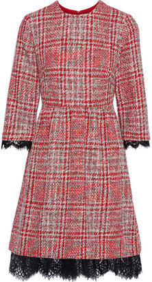 Mikael Aghal Lace-trimmed Checked Tweed Dress