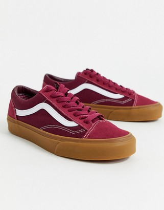 Vans UA Style 36 gum sole sneakers in burgundy