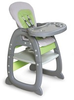 Badger Basket Envee II Baby High Chair with Playtable Conversion - Gray and Green