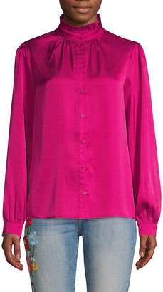 Lea & Viola Button-Front Long-Sleeve Top