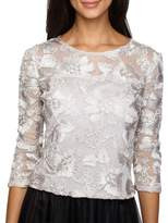 Alex Evenings Embellished Mesh Blouse