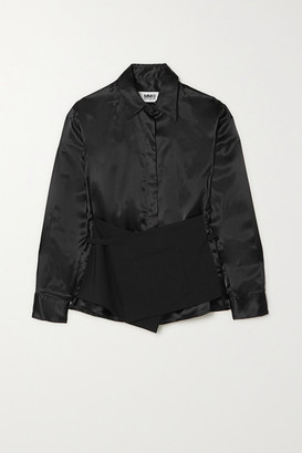 MM6 MAISON MARGIELA Layered Wool And Charmeuse Shirt - Black