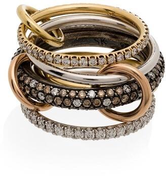 Spinelli Kilcollin 14kt yellow gold stacked Leo diamond ring