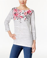 Karen Scott Striped Floral-Print Top, Only at Macy's