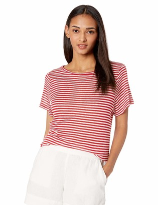 Enza Costa Women's Italian Linen Viscose Easy Short Sleeve Crew Neck T-Shirt