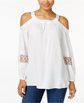 Style&Co. Style & Co. Cold-Shoulder Crochet-Trim Top, Only at Macy's