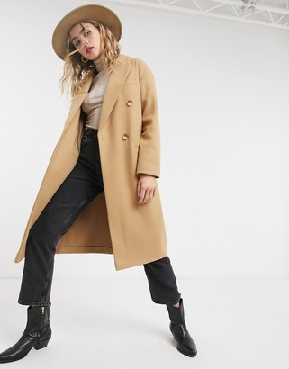 Topshop tailored coat in camel