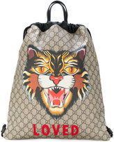 Gucci Angry Cat print soft GG Supreme drawstring backpack - men - Cotton/Leather/Nylon - One Size