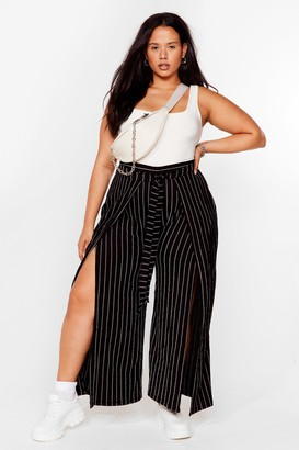 Nasty Gal Womens Working My Way Back to You Plus Stripe Trousers - Black - 20