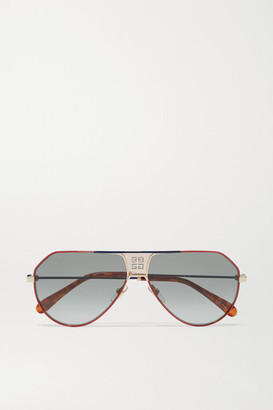 Givenchy Oversized Aviator-style Metal And Tortoiseshell Acetate Sunglasses - Red