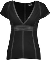 Just Cavalli Faux leather-paneled stretch-jersey top