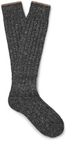 Brunello Cucinelli - Mélange Virgin Wool-blend Over-the-calf Socks